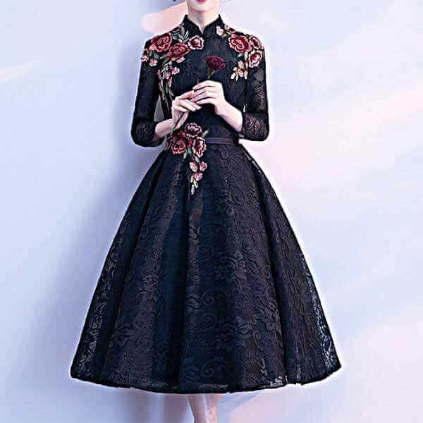 チャイナ風 黒 刺繍のレースドレス
