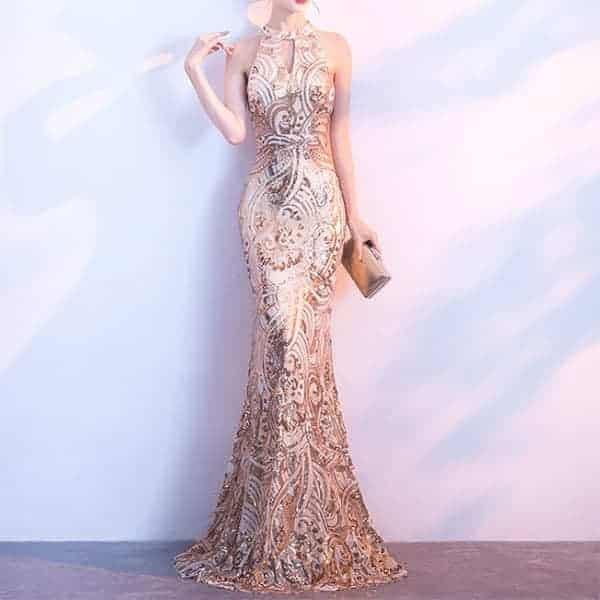 ホルターネックイブニングマーメイドドレス