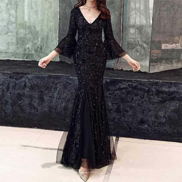 黒のマーメイド ロングドレス