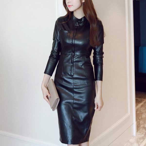レザー 黒 かっこいい 長袖 フェイクのひざ丈 シンプルデザインのタイトワンピース