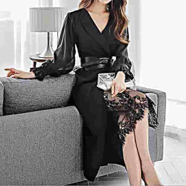 フロントスリットドレス