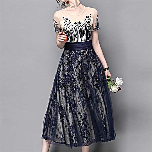 半袖 見事な刺繍のレースドレス