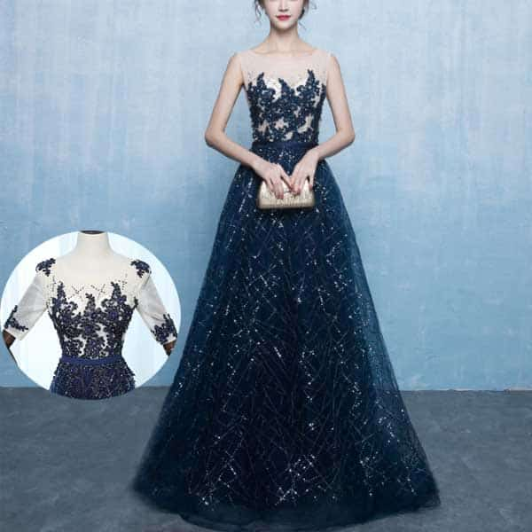 綺麗なビジューが装飾されたネイビーのロングドレス