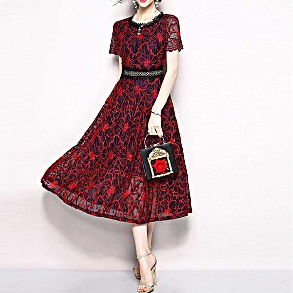 赤の花柄総レースドレス