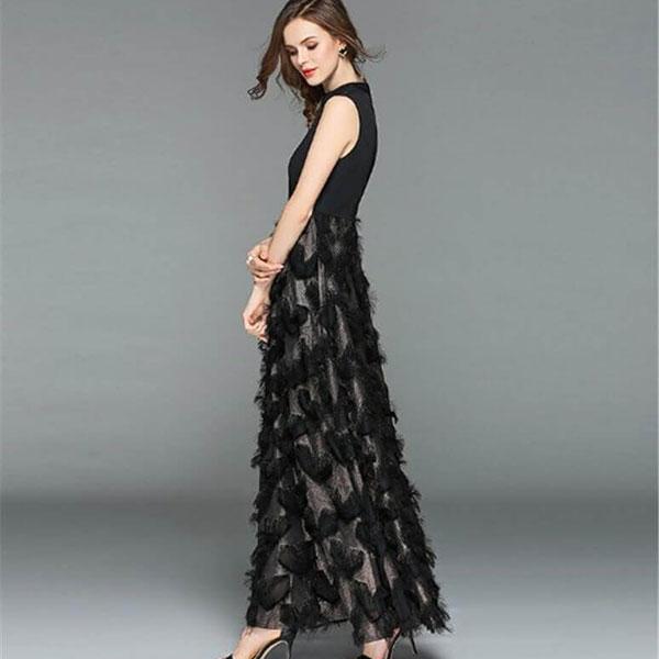 フェザーマキシ丈ドレス