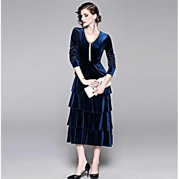 レイヤード ベロアのロングドレス