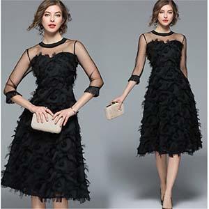 デコルテ お袖がシースルーのブラックドレス