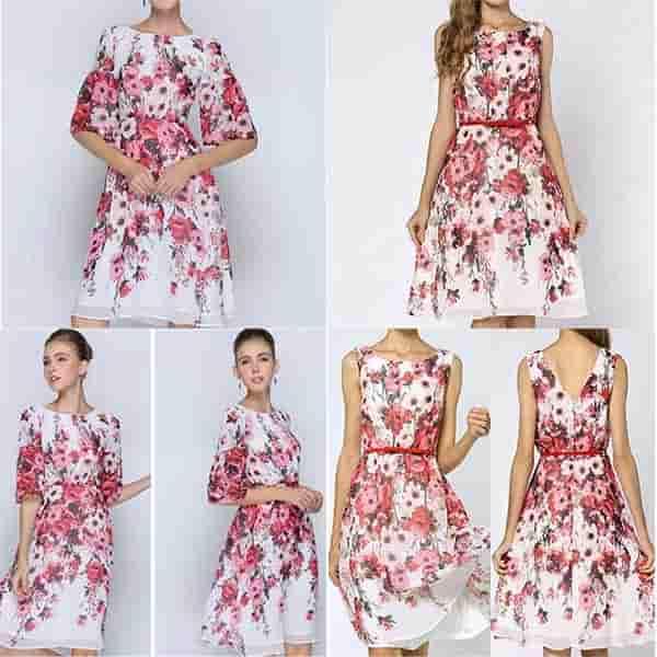シフォン花柄ドレス