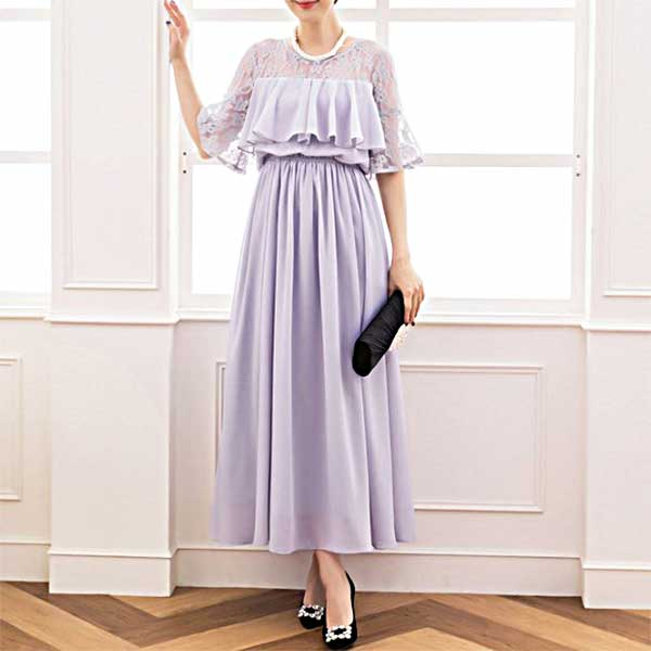 フロントフリル|シフォンレースドレス